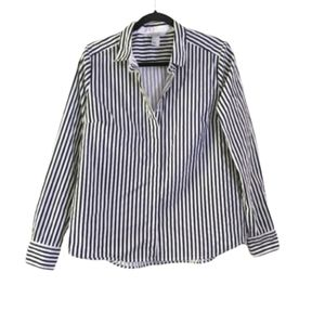 H&M black and white striped collared Blouse